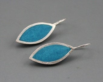 Super sexy Aqua Bue Marquis Sterling SIlver Earrings