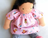 Waldorf doll dress, doll dress, 12 inch Doll Clothes, Germandolls, pink frock, doll dress, rag doll, cloth doll, Steiner doll, gift for girl
