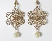 Gold Flower Cutout Pearl Earrings Handmade Wedding