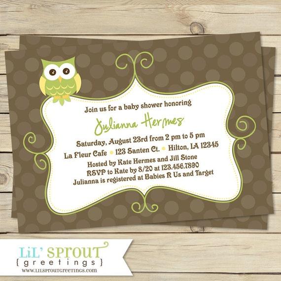 gender neutral owl baby shower invitation you print