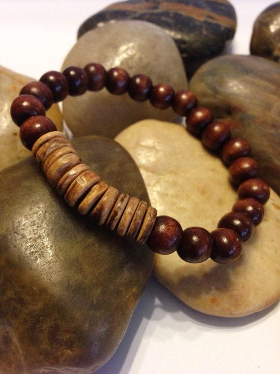 men 39 s bracelet beaded stretch wooden bracelet. Black Bedroom Furniture Sets. Home Design Ideas