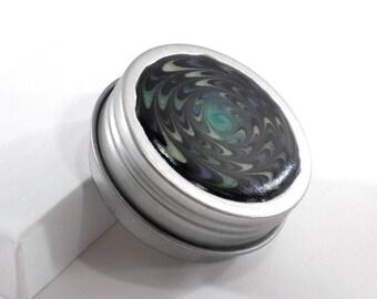 Small Spiral Treasure Box - Greens & Blues Starburst on Black - Jewelry Box - Trinket Box - Pill Box - Handmade - #5