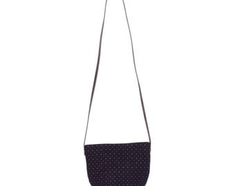 Navy Blue, red & white dot Pocket Pouch (large)