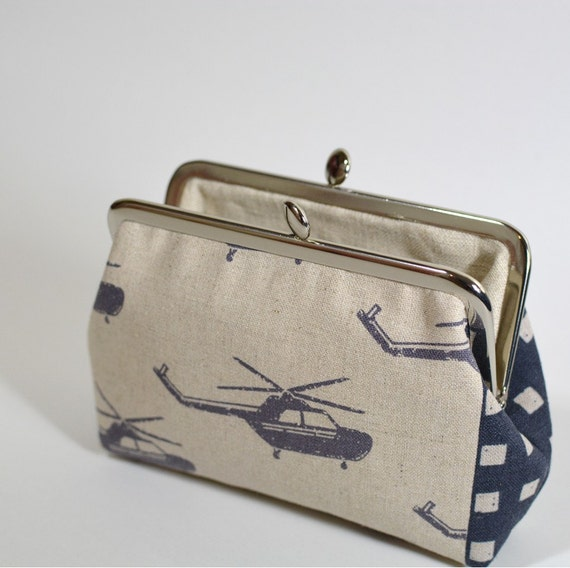 On Sale Clasp Frame Purse Pouch Linen Echino