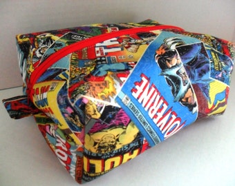 Large Marvel Boxy Make Up / Toiletry Bag / Zipper Pouch - Make Up Bag - Cosmetic Bag - Marvel Bag - Zipper Makeup Bag