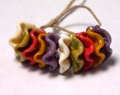 Handmade Lampwork Glass Beads - Ruffled Disc beads - Harvest