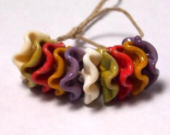 Handmade Lampwork Glass Beads - Ruffled Disc beads - Harvest