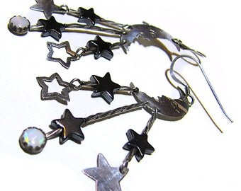 Sterling Silver Earrings Moon and Stars