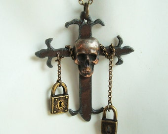 Skull On The Iron Cross Necklace, Gothic Iron Cross, Chained, Custom Handmade, No Mass Produced, Very Limited, USA, Choice of Chain Lengths