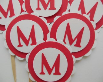 Personalized Letter Cupcake Toppers - Red and White - Initial - Birthday Party Decorations - Bridal Shower Decorations - Set of 6