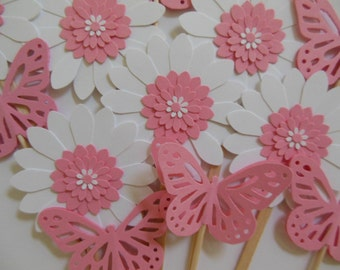 Butterfly and Flower Cupcake Toppers - Pink and White - Girl Baby Shower Decorations - Girl Birthday Decorations - Set of 12