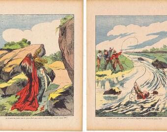 Art.FOUR Vintage book pages;French retro.paris.colourful.thirties.home deco.cowboys,indians,spy.kitchen.nursery.children.boys.original.paper