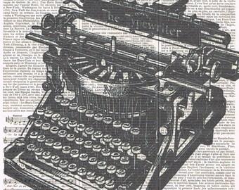 Art.Typewriter.Handmade Gift.Retro.Altered,Repurposed,Book Page Print.Home Deco,Old School, Author,Poetry.writer.artist.novel.unisex.bird