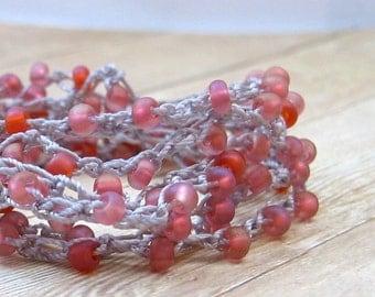 Crochet Beaded Wrap Bracelet with Orange and Pink Matte Finish Seed Beads, Boho Wrap Bracelet, Crochet Jewelry, Wrap Around Bracelet