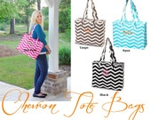 Chevron Zippered Tote Bag. Travel bag. Carry On Luggage. PERSONALIZED FREE