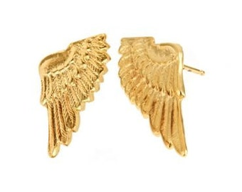 14k yellow gold plate wing studs. Angelic, brides, bridesmaids, post, bird, angel, feather, heaven, romantic, ethereal, classic, on sale.