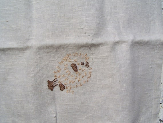Puffer / Blow Fish  - Hand Embroidered Tea Towel Linen