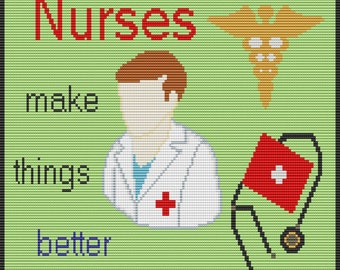 Nurse, pattern for loom or square stitch