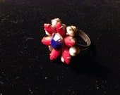 Vintage Red White and Blue Rhinestone Ring