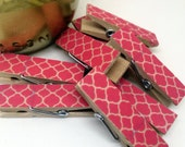 Chunky Washi Covered Clothespins - set of 8 Pink