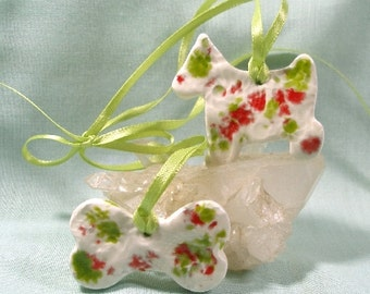 Holiday Dog and Bone Two Part Ceramic Ornament