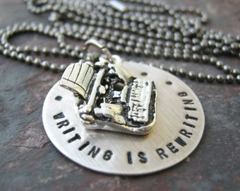 Writing is Rewriting Necklace, Writing Necklace, Writer's Necklace, Editor Necklace, Author Necklace, Writer gift, Author gift