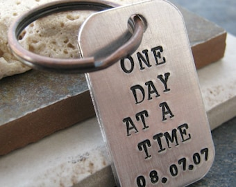 One Day At A Time Keychain with personalized date, antique copper split ring, sobriety, recovery, optional initial disc, sobriety keychain