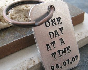 One Day At A Time Keychain with personalized date, antique copper split ring, sobriety, recovery, optional disc, sobriety keychain