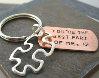 You're the Best Part of Me Puzzle Piece Keychain, a sweet sentiment, gifts under 20, great for your significant other, best friend, sibling