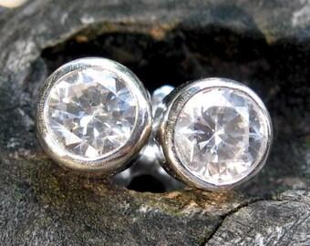 Swarovski cubic zirconia sterling silver stud earrings