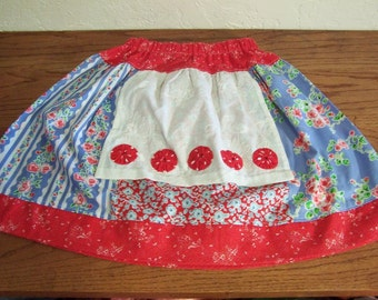 Girl's Apron Skirt Size 7 8  Red White and Blue Summer Skirt  Free Shipping