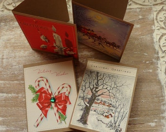 Ucycled Christmas cards, blank greeting cards, vintage illustrations, candy cane, red green, snow, sleigh ride