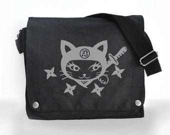 Japanese inspired cute,edgy but girly Ninja Kitty Dark Gray Messenger bag