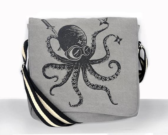 Ninja Octopus Canvas Vintage messenger bag