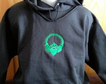 Claddagh Embroidered HOODED Sweatshirt Adult MEDIUM Love, Loyalty & Friendship Traditional Irish Symbol