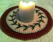 Primitive Christmas Candle Mat Penny Rug Hand Embroidered Beaded Piney Branches Wool Blend Felt