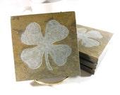 Stone Coasters: Shamrock Coasters - 4 Etched Slate Coasters, Four Leaf Clover Coasters, Carved Slate Coasters, Irish Decor, St Patricks Day