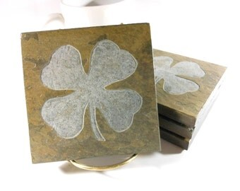 Shamrock Coasters - 4 Etched Slate Coasters, Lucky Four Leaf Clover Coasters, Natural Stone Coasters, Irish Room Decor, St Patricks Day