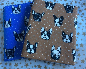 Dog Theme Doctor's Prescription Pad Keeper, Rx Holder, Sleeve, Cover in Your Color Choice of Blue or Brown French Bulldogs.  Gender Neutral.