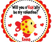 Valentines Stickers, Valentine Fish Personalized Stickers, Gift Tags, Party Favors, Pink, Hearts, Hang Tags, Seals - Set of 12