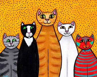 Crazy colorful cats Print friends Shelagh Duffett