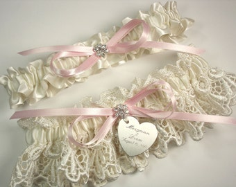 Personalized Pink Wedding Garter Set in Ivory Lace with a Bow, Rhinestones and Engraving