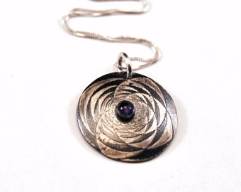 Sterling Silver Etched Necklace with Amethyst Cabochon