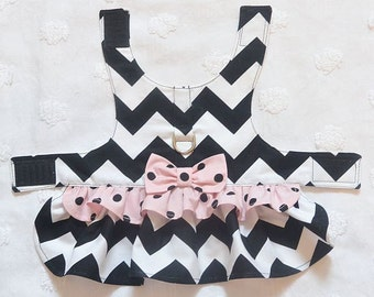 Dog Harness Dress Black Chevron with Pale Pink and Black Dots