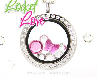 Locket Love TM Life-Journey-Floating-Charm-Locket with Crystal Frame includes Your Choice of Swarovski Crystals.