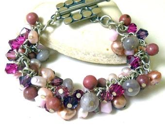 Pink Gemstone Charm Bracelet - Princess