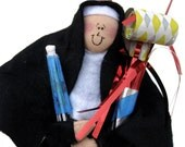 Nun doll Catholic gift for birthdays-Sister Bonnie Fete--Birthdays are such a Nasty Habit