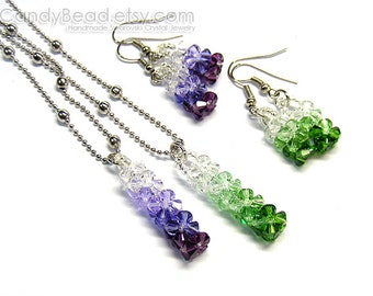 Swarovski Crystal Necklace And Earrings, Purple And Green Shade Set By CandyBead - You Choose Color