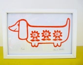 Mini Sausage Dog Screen Print by Jane Foster  - signed limited edition