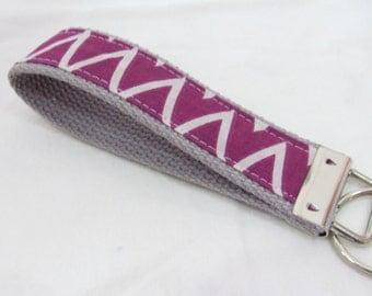 Wristlet Key Fob Key Chain - Orchid Chevron Zig Zag Stripe - Fabric Keychain